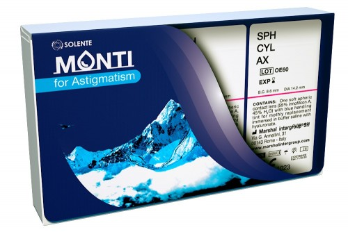 Силікон-гідрогелеві торичні контактні лінзи щомісячної заміни Solente Monti for Astigmatism